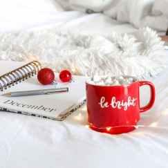 red ceramic mug on white mat beside notebook